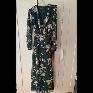 Floor length Dynamite Dark Green Floral Maxi Dress